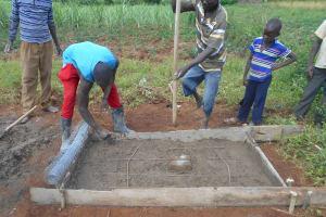 The Water Project: Kalenda B Community, Lumbasi Spring -  Sanitation Slab Work