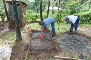 The Water Project: Mukangu Community, Metah Spring -  Casting Sanitation Platform
