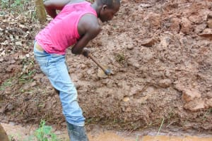 The Water Project: Imusutsu Community, Ikosangwa Spring -  Clearing The Drainage Channel