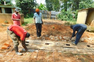 The Water Project: Hobunaka Primary School -  Building Latrine Foundation