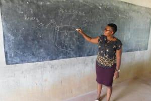 The Water Project: Sawawa Secondary School -  Facilitator Using Chalk Board Illustrations