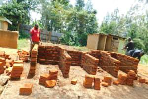 The Water Project: Hobunaka Primary School -  Latrine Brick Work