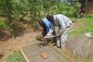 The Water Project: Tumaini Community, Ndombi Spring -  Sanitation Slab Construction