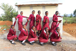The Water Project: Friends School Ikoli Secondary -  Girls Pose With New Latrines
