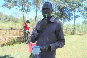 The Water Project: Kalenda A Community, Webo Simali Spring -  Toothbrushing