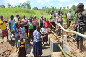 The Water Project: Tumaini Community, Ndombi Spring -  Trainer Betty Leads Site Management Session