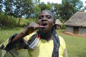The Water Project: Kalenda B Community, Lumbasi Spring -  Toothbrushing Volunteer