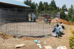 The Water Project: Sawawa Secondary School -  Fitting Rebar To Foundation