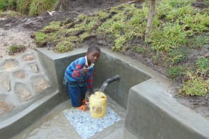 The Water Project: Bukhaywa Community, Shidero Spring -  Thumbs Up For Flowing Water