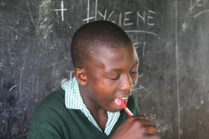 The Water Project: Bugute Lutheran Primary School -  Student Demonstrates Toothbrushing