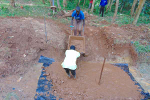 The Water Project: Kitulu Community, Kiduve Spring -  Setting Foundation