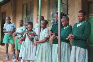 The Water Project: Bugute Lutheran Primary School -  Imitating Handwashing Steps