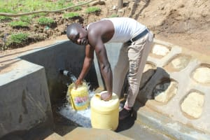 The Water Project: Kalenda B Community, Lumbasi Spring -  Filling Up In A Flash