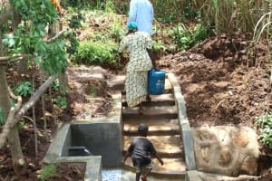 The Water Project: Namarambi Community, Iddi Spring -  Bringing Clean Water Home