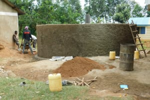 The Water Project: Bumbo Primary School -  Rain Tank Wall Construction