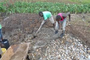 The Water Project: Kalenda A Community, Webo Simali Spring -  Mixing Concrete