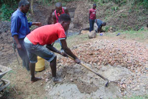 The Water Project: Mubinga Community, Mulutondo Spring -  Mixing Concrete