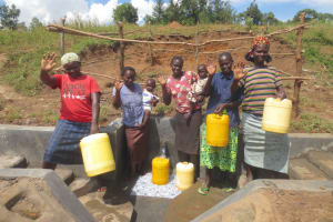 The Water Project: Kalenda A Community, Webo Simali Spring -  Women And Children Say Thank You