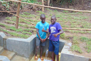 The Water Project: Mubinga Community, Mulutondo Spring -  Thumbs Up For Clean Water