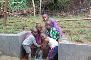 The Water Project: Mubinga Community, Mulutondo Spring -  Kids Enjoying The Spring