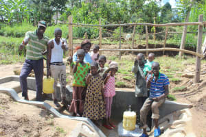The Water Project: Kalenda B Community, Lumbasi Spring -  Thumbs Up For Clean Water