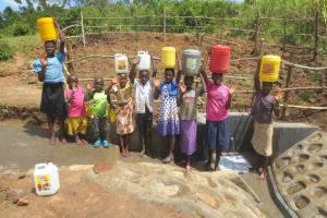 The Water Project: Tumaini Community, Ndombi Spring -  Kids Say Thank You