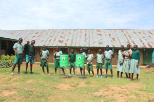 The Water Project: Bugute Lutheran Primary School -  Pupils With Handwashing Stations