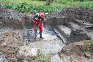 The Water Project: Kalenda A Community, Webo Simali Spring -  Setting The Foundation