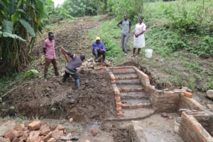 The Water Project: Rosterman Community, Lishenga Spring -  Stair Construction