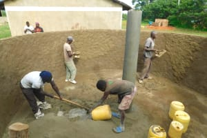 The Water Project: Bumbo Primary School -  Teamwork Inside The Tank