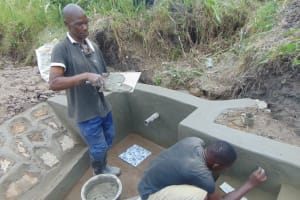 The Water Project: Bukhaywa Community, Shidero Spring -  Tile Setting