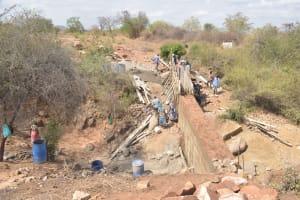 The Water Project: Wamwathi Community -  Dam Wall Progress