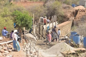 The Water Project: Wamwathi Community -  Wing Wall Construction