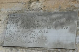 The Water Project: Kyamwao Community -  Sand Dam Plaque