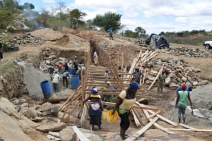 The Water Project: Kyamwao Community -  Scaffolding For Dam