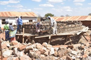 The Water Project: Kyandoa Primary School -  Working On Tank Wall Bricks