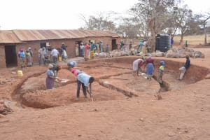 The Water Project: Kyandoa Primary School -  Working On The Foundation