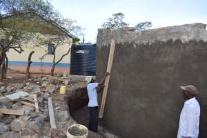 The Water Project: Kithoni Primary School -  Working On The Wall