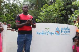 The Water Project: Kamayea, Susu Community & Church -  Church Pastor Making Statement