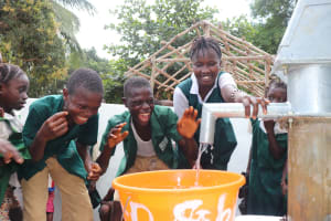 The Water Project: Lungi, Mamankie, DEC Mamankie Primary School -  Students Happy For Clean Water Flowing