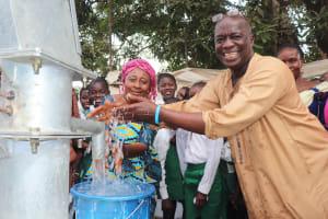 The Water Project: Lungi, Kasongha, DEC Kasongha Primary School -  Head Teacher And Deputy Head Teacher Joyfully Splash Water
