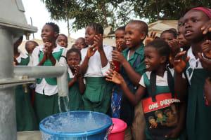 The Water Project: Lungi, Kasongha, DEC Kasongha Primary School -  Students Celebrating Clean Water