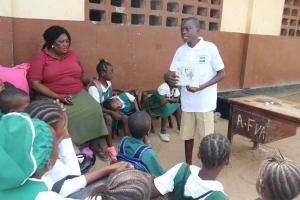 The Water Project: Lungi, Kasongha, DEC Kasongha Primary School -  Students Teaching Community Health