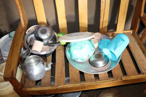 The Water Project: Harambee Community, Elijah Kwalanda Spring -  Utensils Placed On A Chair To Dry