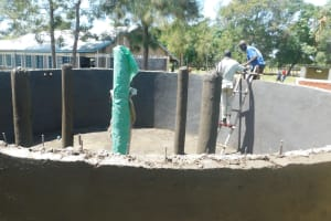 The Water Project: St. Peter's Khaunga Secondary School -  Working On Interior Plaster And Pillars