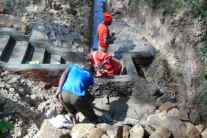 The Water Project: Bukhaywa Community, Ashikhanga Spring -  Plastering And Clay Works
