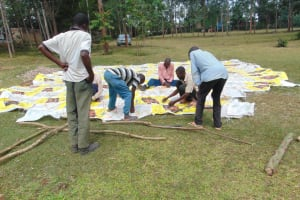 The Water Project: Friends Kuvasali Secondary School -  Sewing Sugar Sacks To Dome Wire