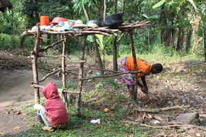 The Water Project: Litinye Community, Shivina Spring -  Sweeping