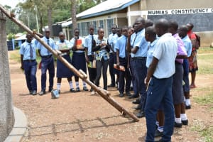 The Water Project: St. Peter's Khaunga Secondary School -  Betty Leads Rain Tank Management Session