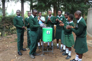 The Water Project: Friends Kuvasali Secondary School -  Everyone Joins In The Handwashing Demonstrations
